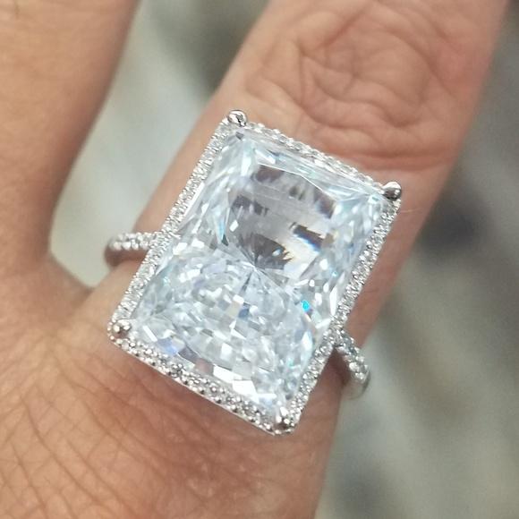 cb7a3f0ba99f Large Emerald Radiant cut Engagement Ring